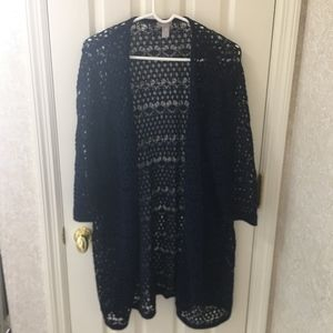 CHICO'S OPEN WEAVE WEATER JACKET SIZE 3